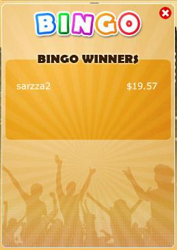 bingo cafe winning bingo message
