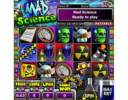 bingo cafe mad science 5 reel online slots game
