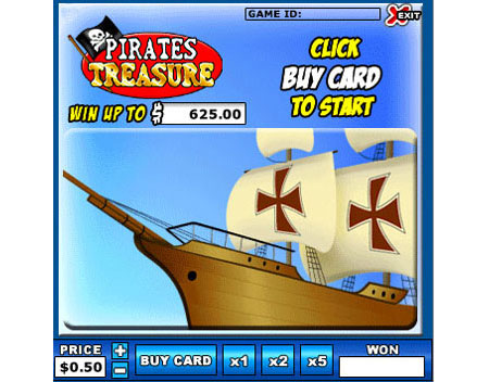 bingo cafe pirates treasure online instant win game